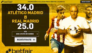 betfair supercuota 34 o 25 Atlético vs Real Madrid 18 noviembre