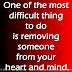 One of the most difficult thing to do is removing someone from your heart and mind.