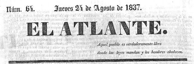 Cabecera del periódico El Atlante en 1837