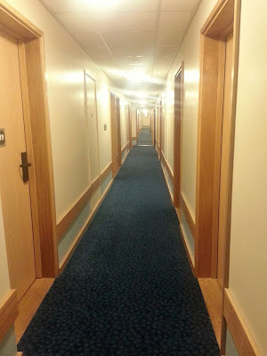 Very long corridor with identical doors along it.