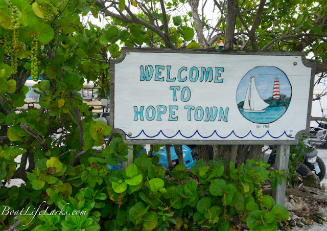 Welcome to Hope Town sign