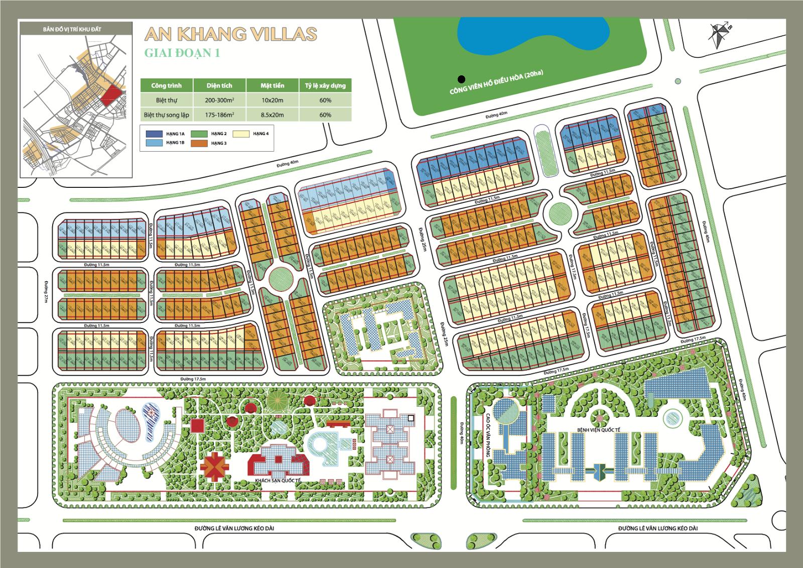 Bản đồ quy hoạch khu biệt thự dương nội khu a