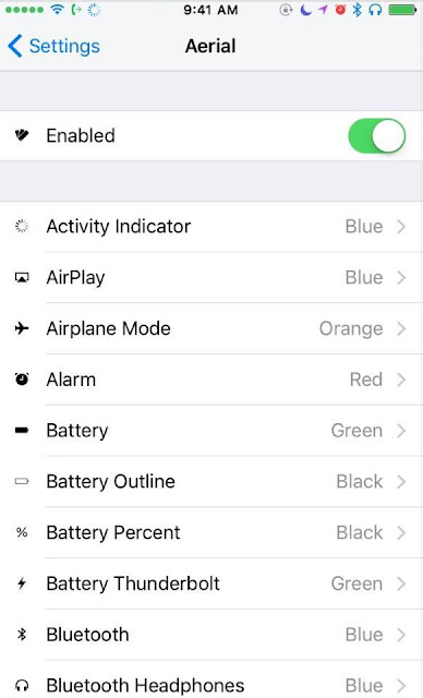 Aerial is new jailbroken cydia tweak which lets you color and personalize your status bar's indicators icons beautifully.