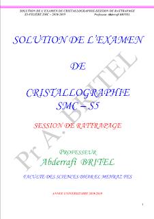 ⏬ Examen corrigée RADIOCRISTALLOGRAPHIE ET CRISTALLOCHIMIE II SMC S5 pdf