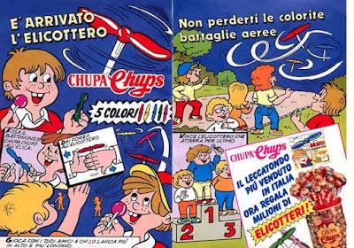 La pagina di Topolino che pubblicizzava gli elicotteri Chupa Chups