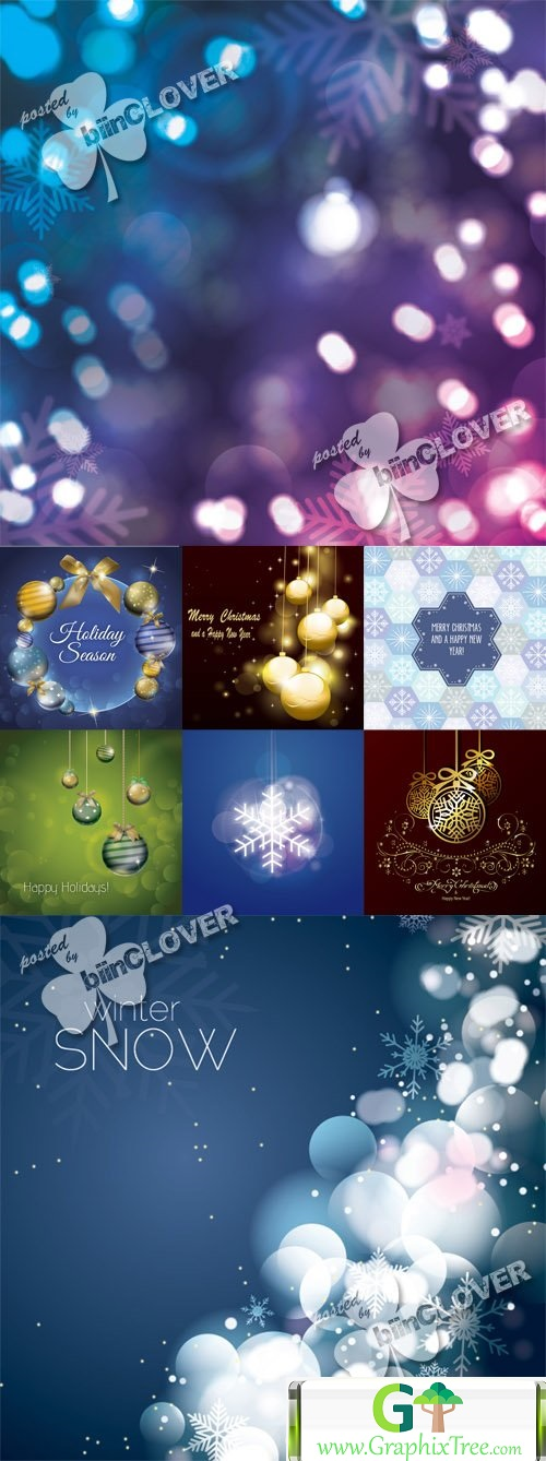 Vector Christmas and New Year cards 0548