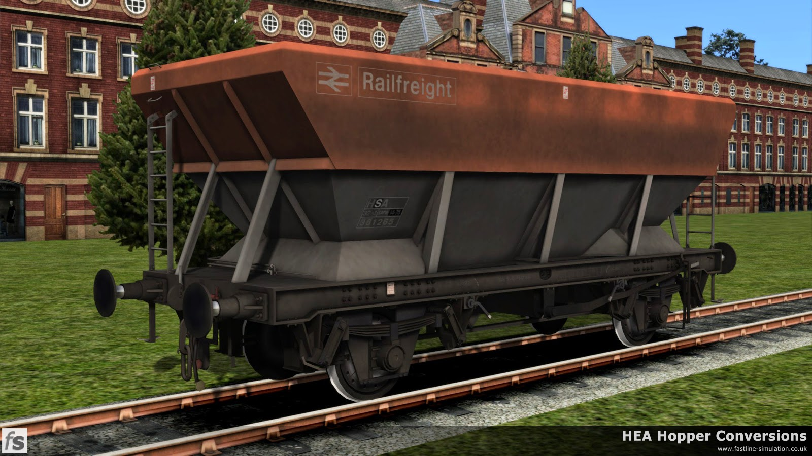 Fastline Simulation - HEA Conversions: One of the later build of HEA hoppers with an offset ladder and wearing grubby Railfreight flame red and grey livery has been converted into an HSA scrap wagon. Judging by the increased tare weight that has been added at the same time as recoding, 'conversion' has involved filling the hopper bottoms with ballast to make a level loading area!