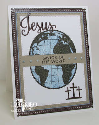 ODBD Jesus Loves You Stamp/Die Duos, ODBD The Earth, ODBD Custom Snowflake Sky Dies, ODBD Custom Pierced Rectangles Dies, Card Designer Angie Crockett