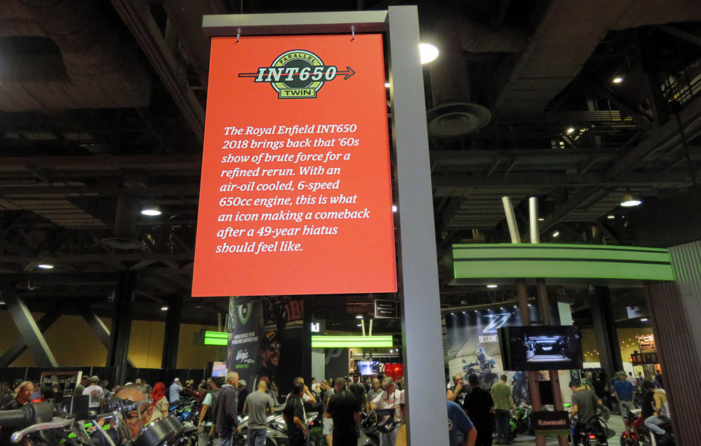 Sign at motorcycle show.