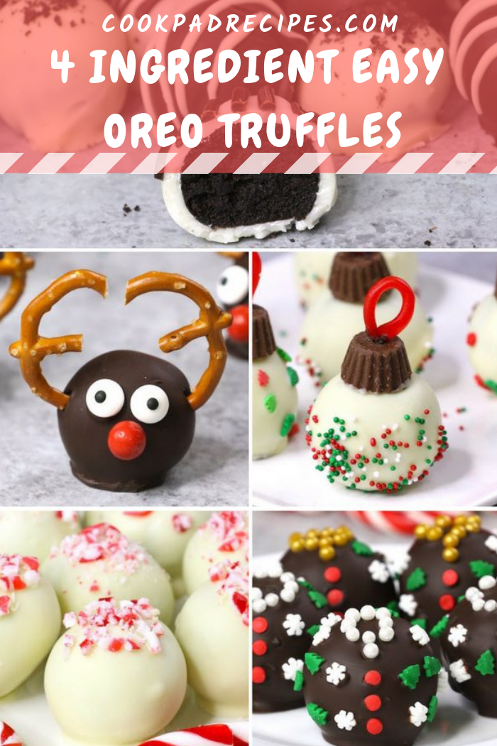4 Ingredient Easy Oreo Truffles #Christmas #Truffles