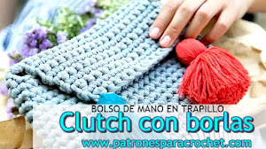 Bolso de mano a crochet con borlas / Patrones