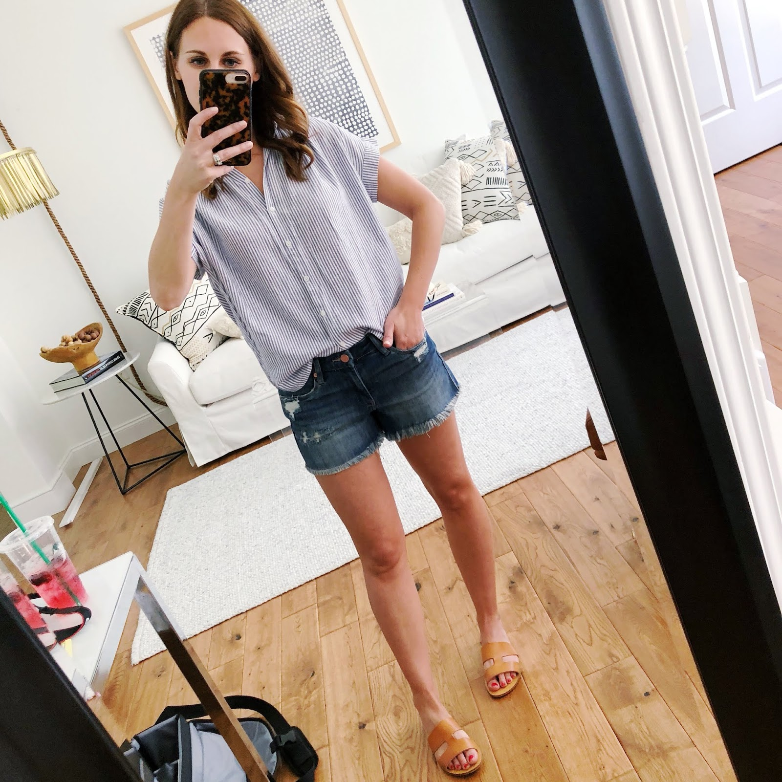 dd7213df21 above  This button front top and denim shorts is perfect for a super hot  day. I love classic brown sandals like these - they go with everything!