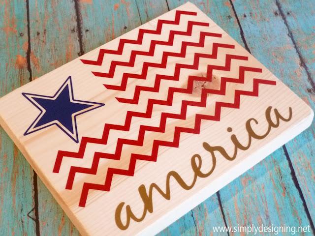 4th of July American Chevron Flag vinyl wood decor @SimplyDesigning   #4thofjuly #america #redwhiteblue #chevron #starsandstripes