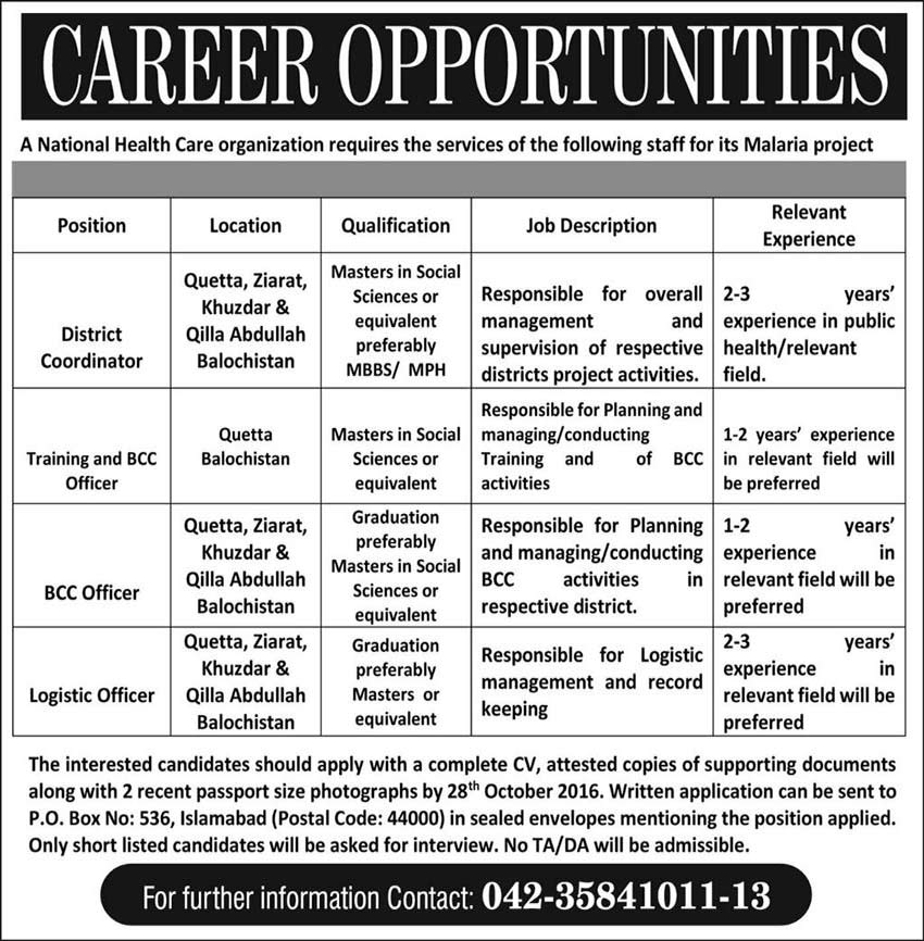 National Health Care Organization Different Jobs