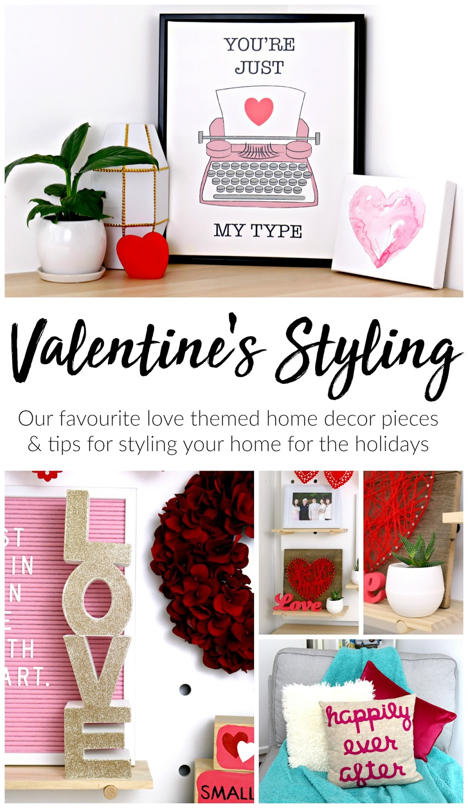 Valentine's Day Home Decor Styling – inspiration, easy valentine's decoration ideas, red pink home décor theme