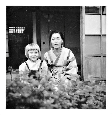 Elena Vassilieff in Japan in the early 1950's with a neighborhood friend