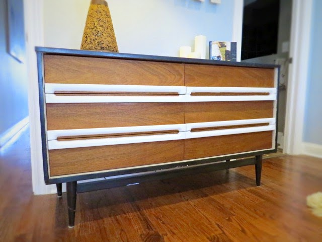 repainted stripped  mid-century dresser wood black white paint
