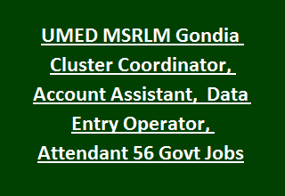 UMED MSRLM Gondia District Cluster Coordinator, Account Assistant,  Data Entry Operator, Attendant 56 Govt Jobs