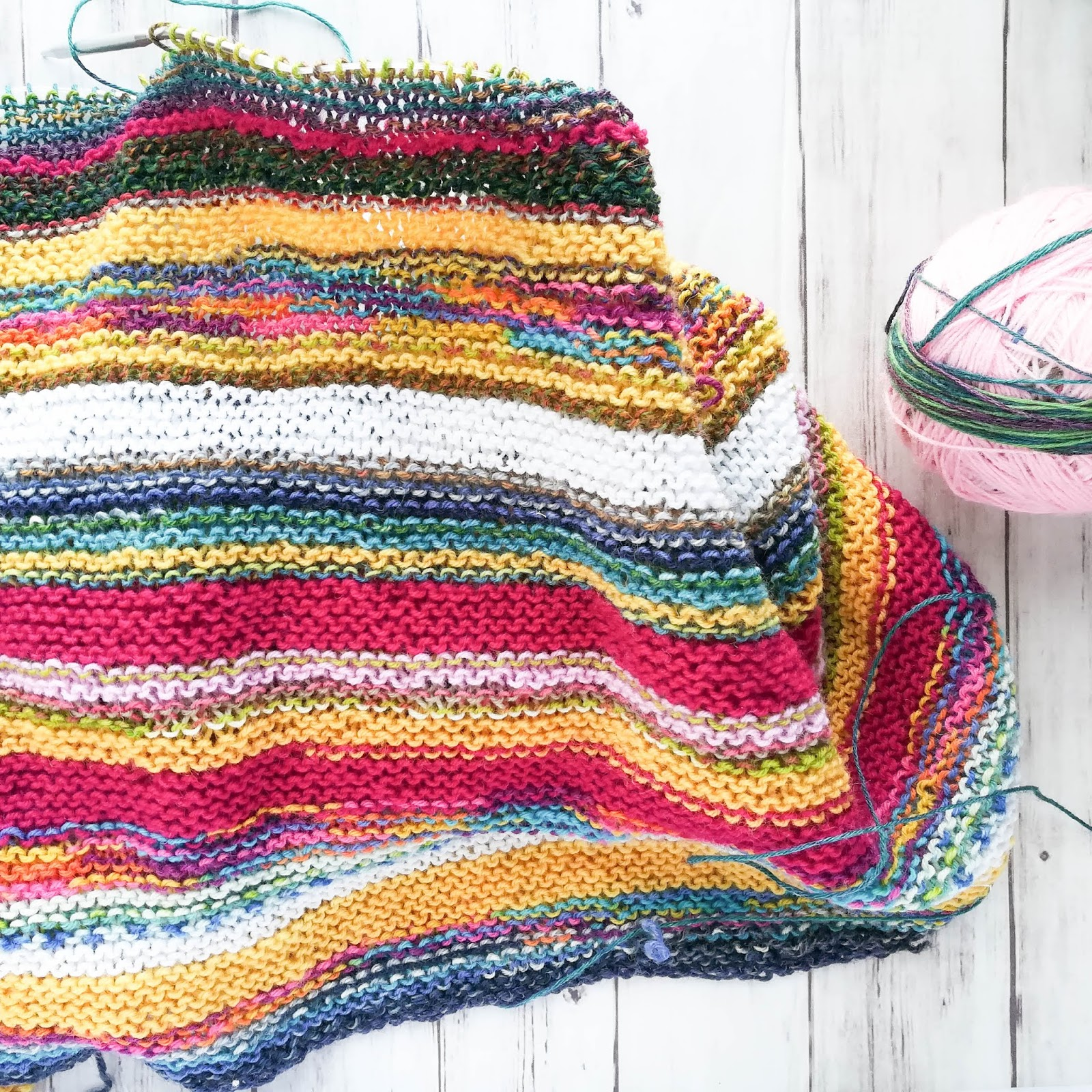A Lively Hope Stash Busting Knit Blanket With No Ends To Weave In