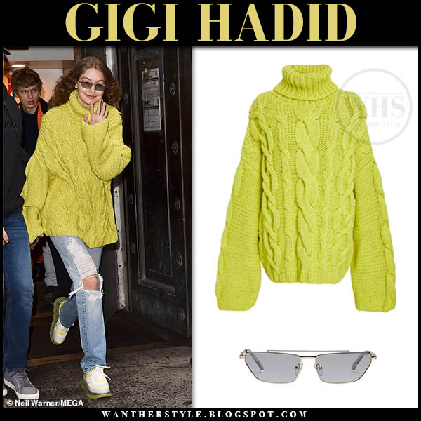 Gigi Hadid in yellow lime green knit Marina Moscone sweater and jeans Fashion Week off duty outfits