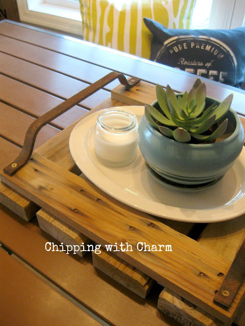 Chipping with Charm: Rustic Pallet Tray with Silo Step Handles...www.chippingwithcharm.blogspot.com