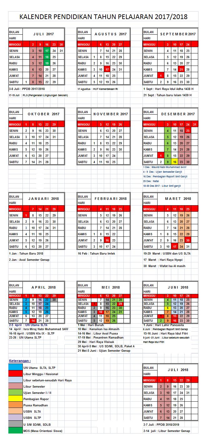 Seiring akan segera berakhirnya tahun ajaran  Download Kalender Pendidikan Tahun Ajar 2017/2018 SD/SMP/SMA/SMK