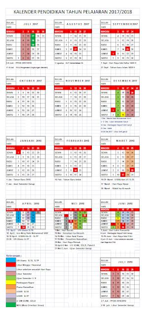 Contoh Berkas Kalender Pendidikan Tahun Ajar 2017/2018 Semua Jenjang Pendidikan