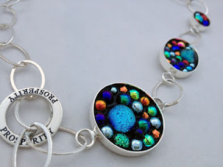 Micro Mosaic Jewelry made using Dichroic Glass and No Days Groutless