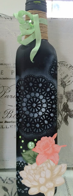 Altered bottles and jars by Solange Marques featuring BoBunny Felicity collection and Pentart chalkboard paint
