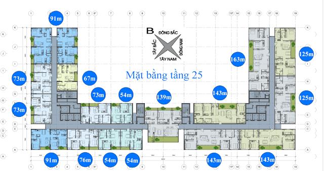 mặt bằng tầng 25 chung cư anland