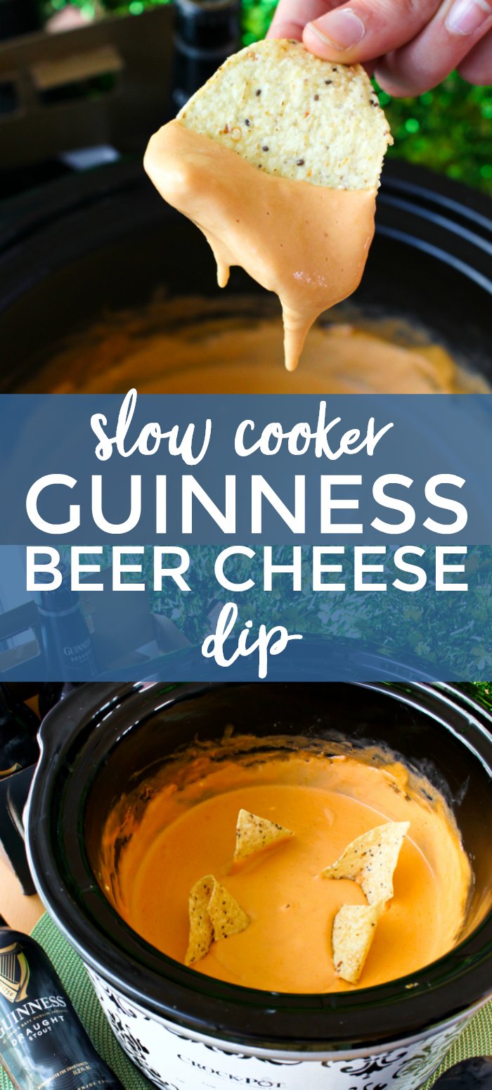 Slow Cooker Guinness Beer Cheese Dip is a bold Irish beer flavored cheese dip that is perfect for your St. Patrick's Day festivities! #beercheesedip #appetizer #diprecipes