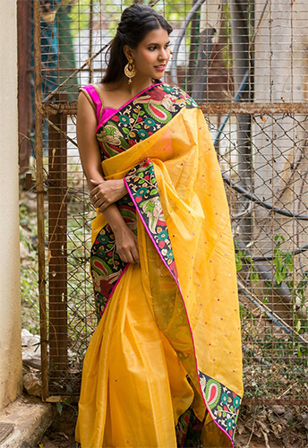 c21a358c0f If you are an art lover, you just can't say no to kalamkari sarees. These  sarees are known for beautiful painting designs and antique patterns over  the ...
