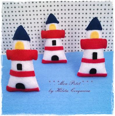 lembrancinha-maternidade-em feltro-tema marinheiro-farol em feltro-handmade-felt