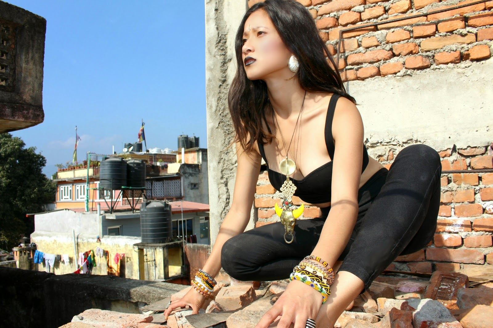 Lotus Sky, dark boho jewelry, Kathmandu rooftop, Tibetan jewelry, fierce ethnic