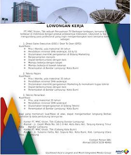 Lowongan Kerja Lampung Terbaru 2018 di PT. MNC Vision, Tbk (Cabang Bandar Lampung & Cabang Kota Bumi)