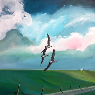 Kunst, kunst til salg, firma kunst, moderne, contemporary, art, landskab, naturalistisk, canada goose, gæs, højer, marsken, Vadehavet, denmark, artist, kvindelig kunstner, lys, colourful, farverig, glad kunst