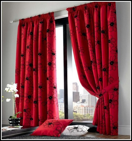 cool black and red curtains with floral designs