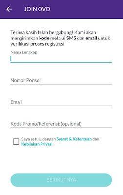 Mengisi data diri mendaftar OVO