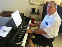 Senior Citizen play digital piano