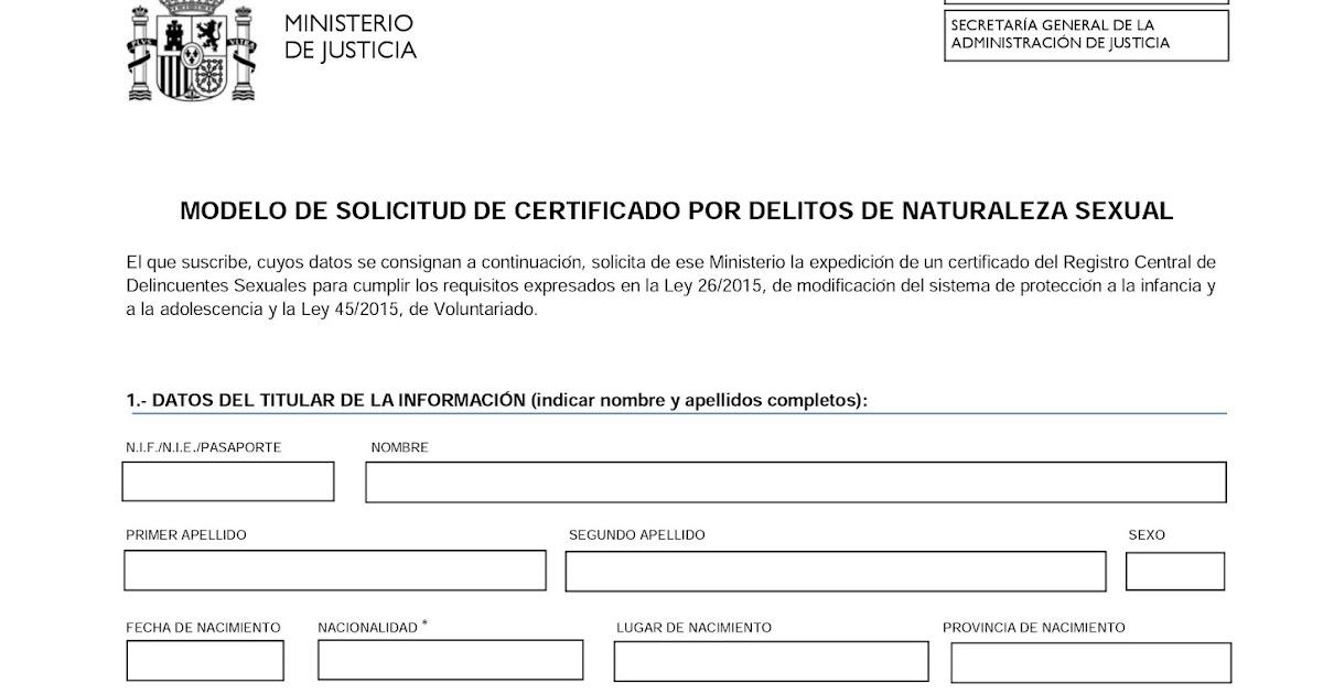Certificado del Registro Central de Delincuentes Sexuales