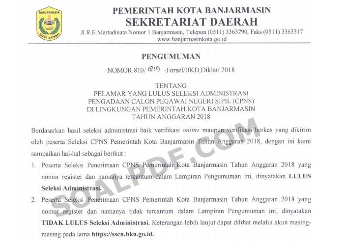 Hasil Seleksi Administrasi CPNS Pemkot Banjarmasin