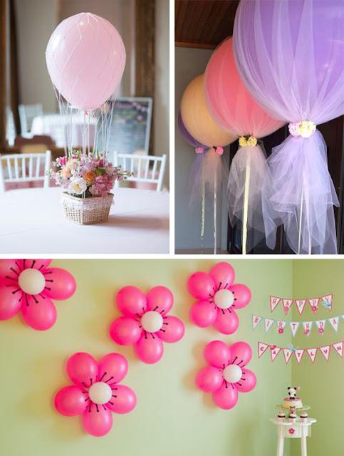 Idei de decoratiuni cu baloane pentru botez fetita in culorile roz, alb si mov