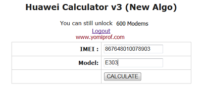 Huawei Unlock Calculator V201