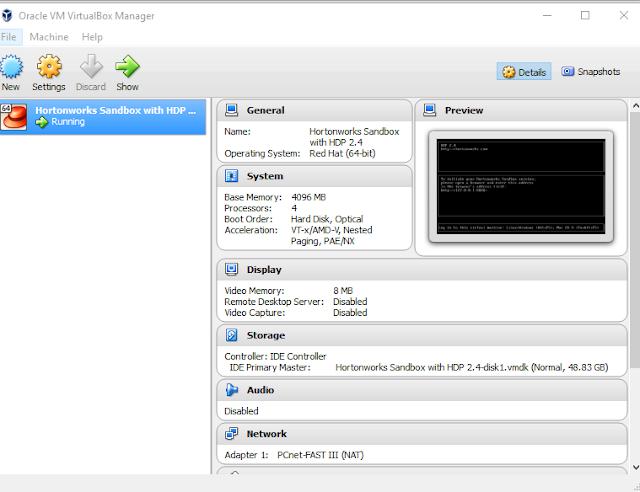 HortonWorks Sandbox On VirtualBox