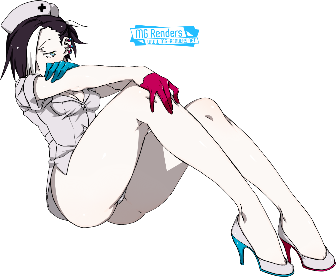 Tags: Render, Ass, Black hair, Black Hood, Cleavage, Full body, High heels, Kamezaemon, Nurse, Original Character, Pantsu, Short hair