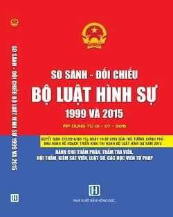 sách so sánh đối chiếu bộ luật hình sự 1999 và 2015