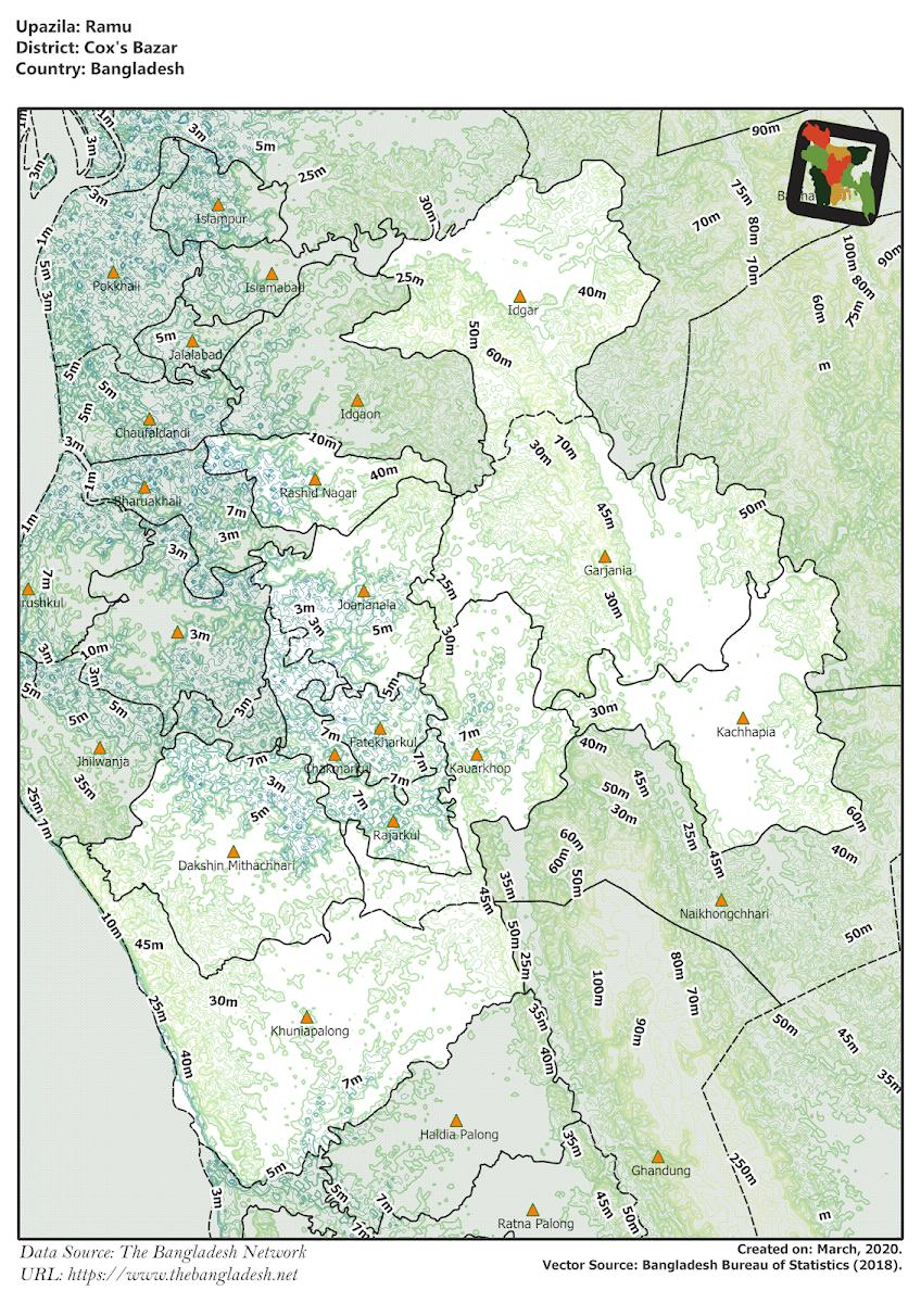 Ramu Upazila Elevation Map Cox's Bazar District Bangladesh