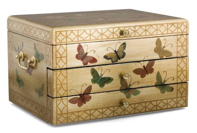 flatware chest with butterflies