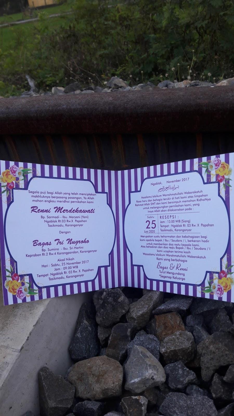 undangan vintege garis ungu