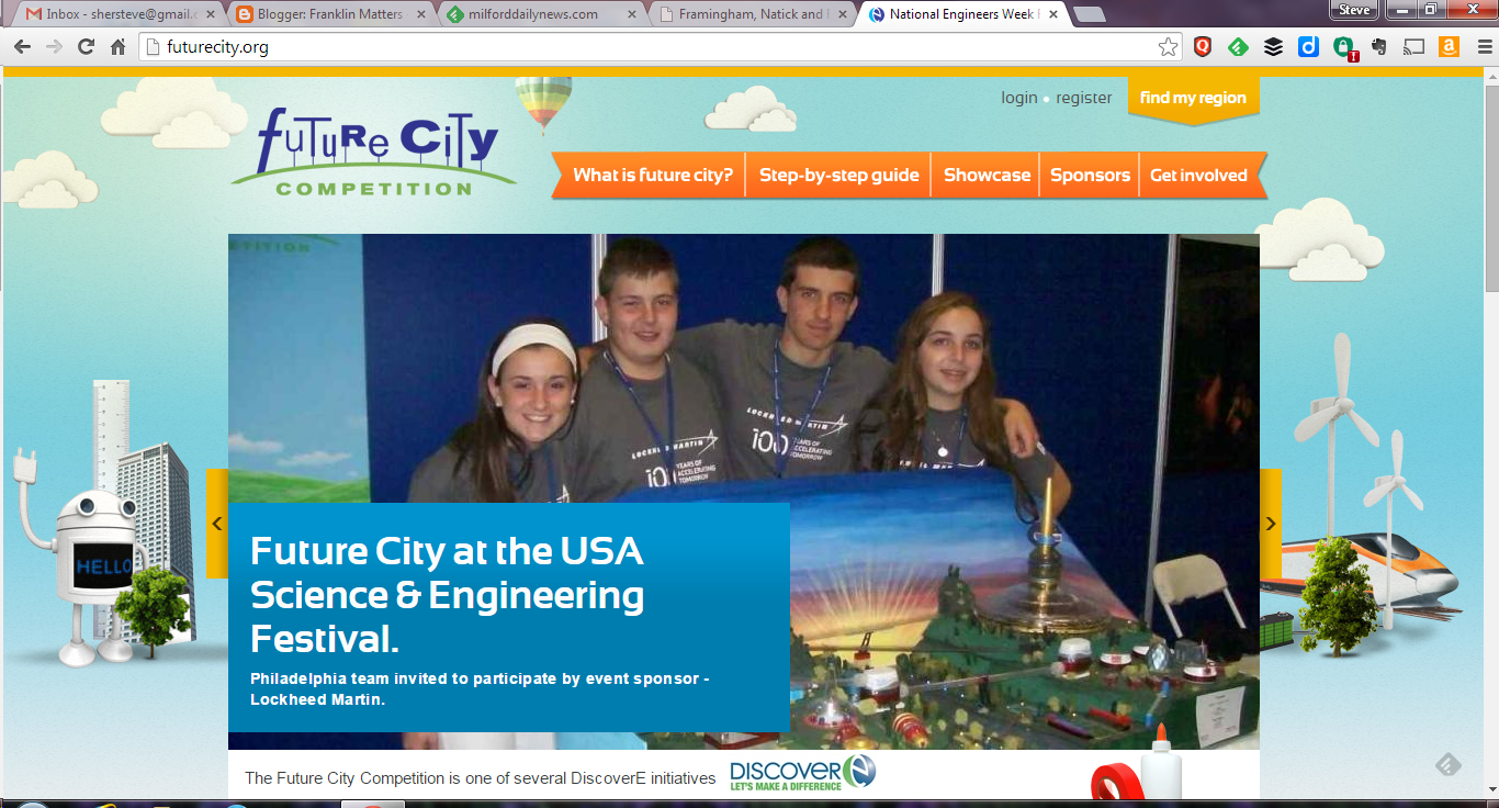 screen grab of Future City webpage